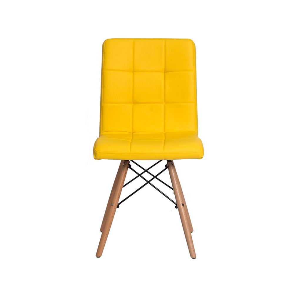 Cadeira Charles Eames Gomos Amarela Base Madeira