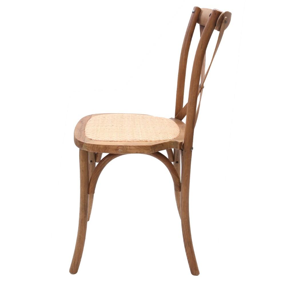 Cadeira Katrina Cross Paris Empilhável Madeira Carvalho Natural