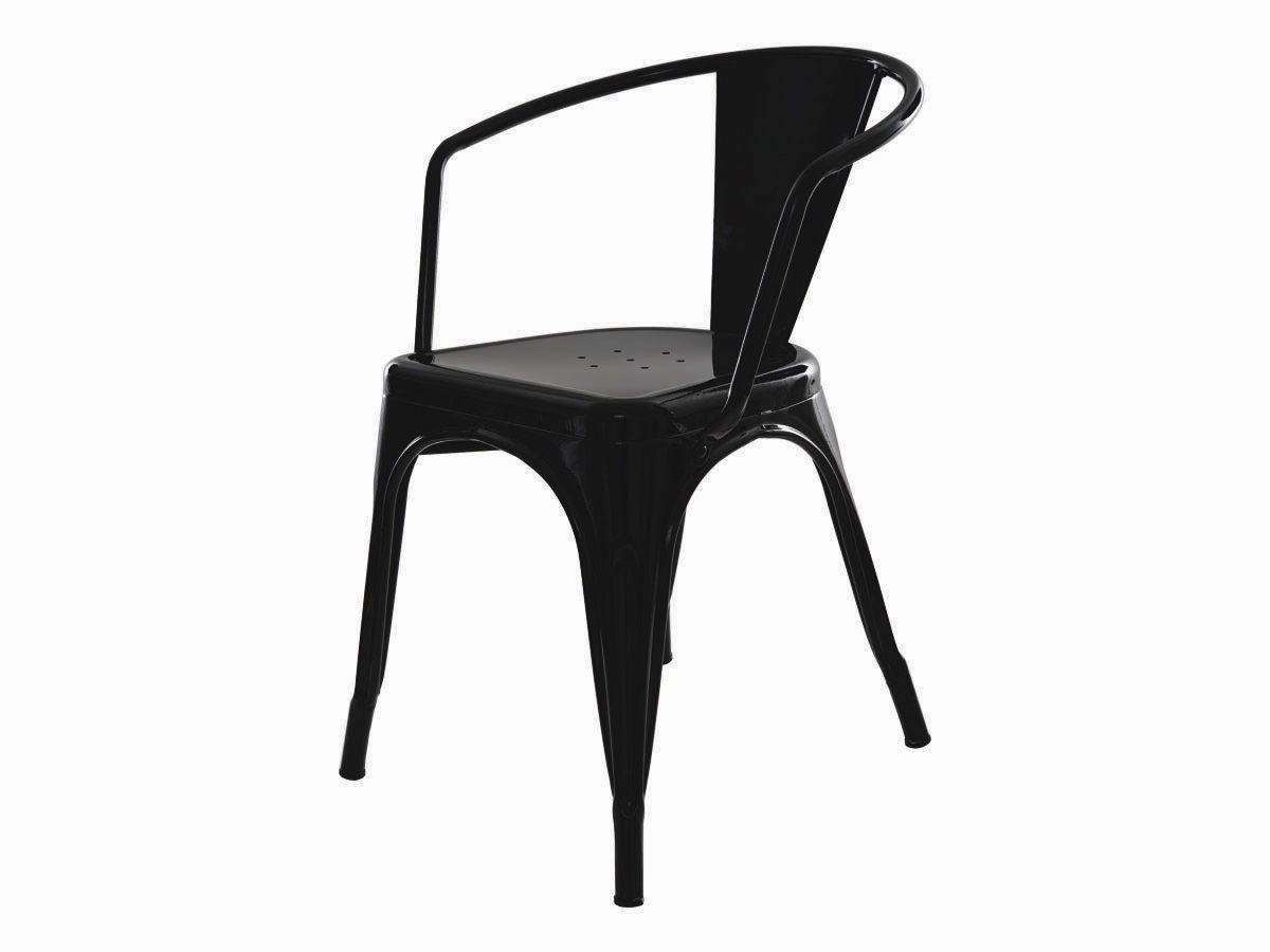 Cadeira Tolix Com Braço Iron Industrial Preta