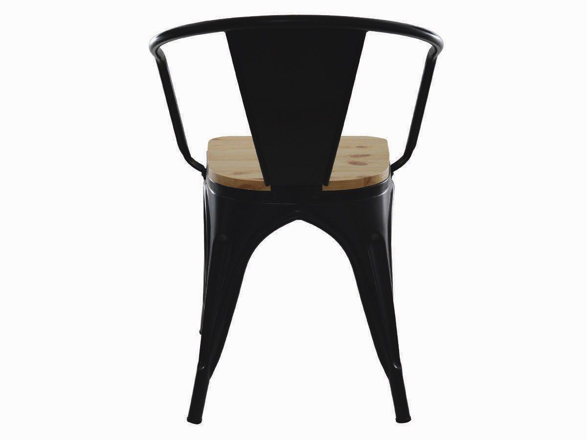 Cadeira Tolix Com Braço Iron Industrial Preta Com Assento De Madeira