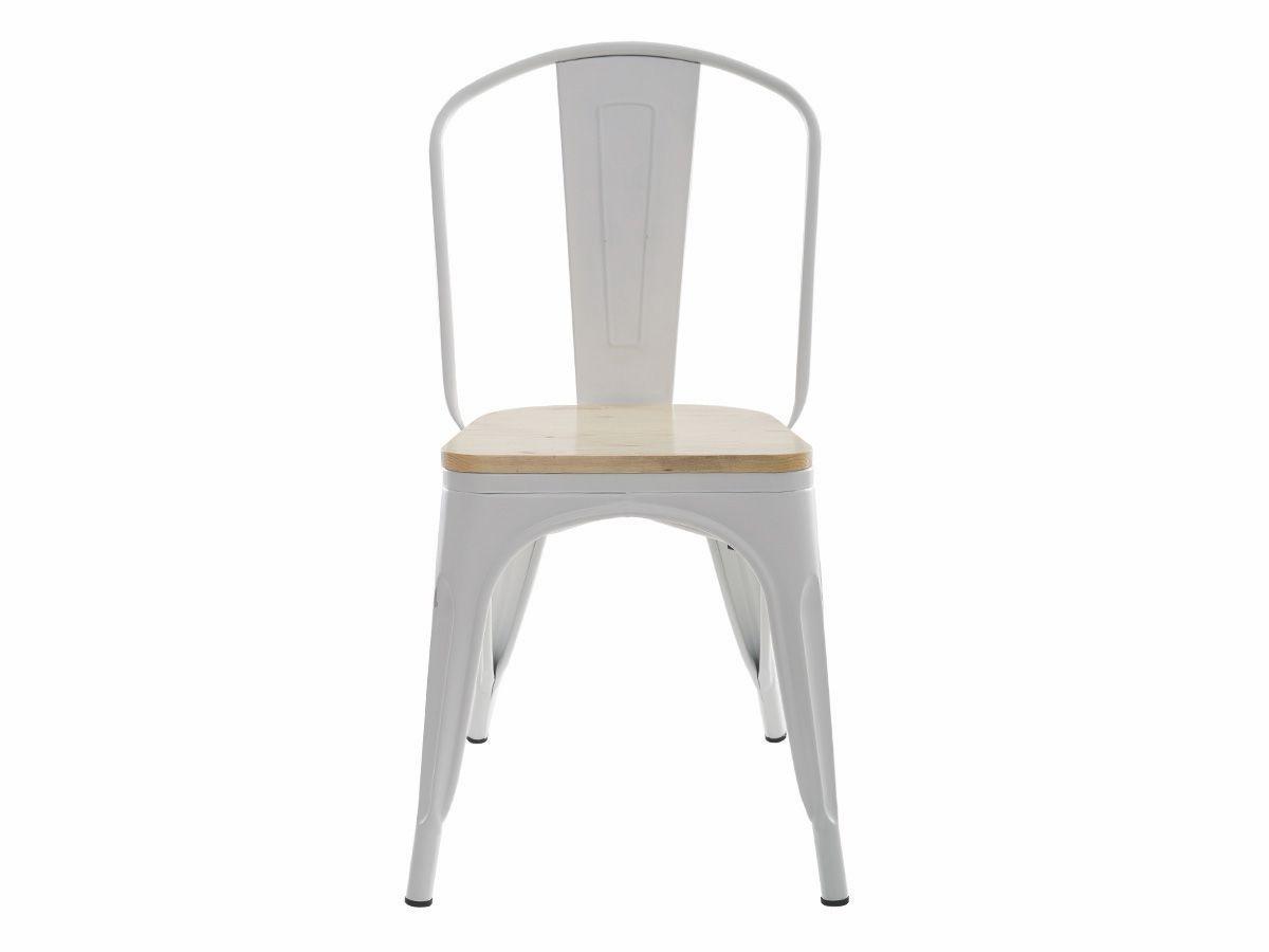 Cadeira Tolix Iron Industrial Branca Com Assento De Madeira