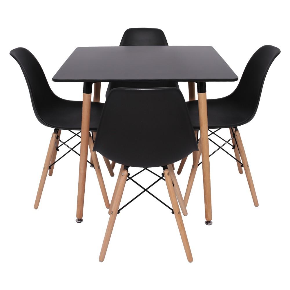 Conjunto Kit Mesa Quadrada Charles Eames Eiffel Preta DSW 80x80cm E 4 Cadeiras Charles Eames Eiffel DSW Preta