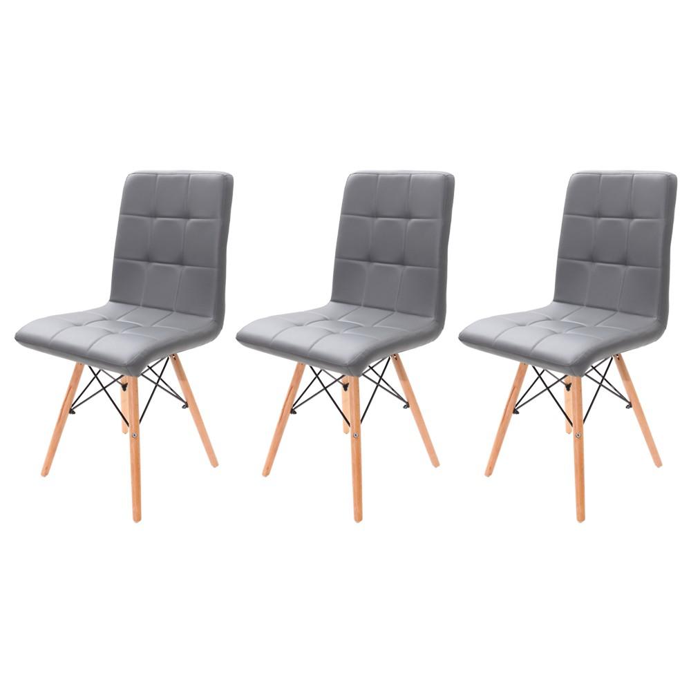 Kit 3 Cadeiras Charles Eames Gomos Cinza