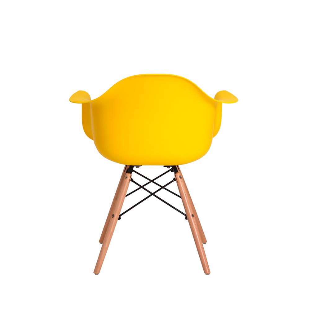 Kit 4 Cadeiras Charles Eames Eiffel Com Braço Amarela Base Madeira