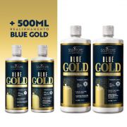 Kit Blue Gold (Passo 1 + Passo 2) 1L + Kit Blue Gold 500ml - Realinhamento Capilar