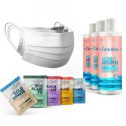 Kit 3 Álcool em Gel Hidratante Laevia 70% 300ml + 10 Máscaras Descartáveis Brancas