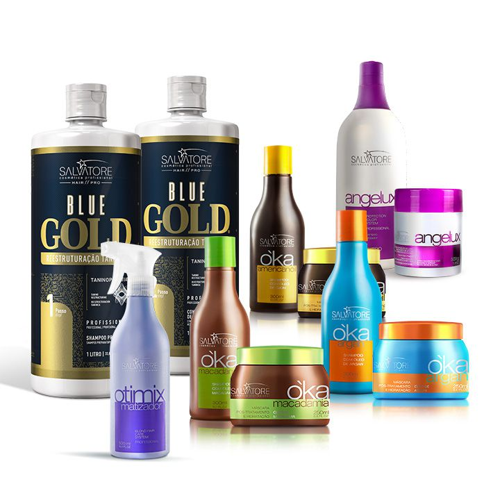 Combo Blue Gold 1L + 3 kits Oka Cliente + Kit Angelux Profissional + Spray Matizador Otimix Profissional 500ml