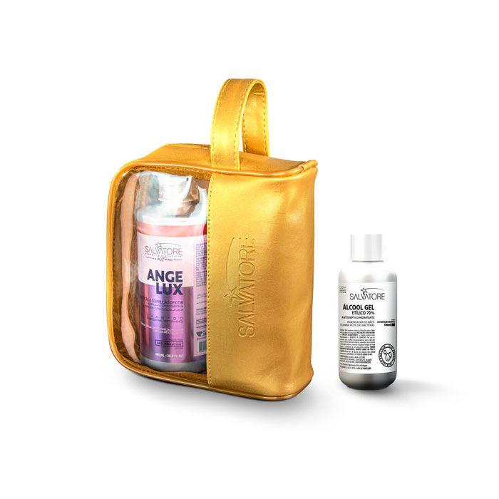 Kit Angelux Shp 480ml + Másc. 250ml + Necessaire + Álcool em gel 70% 100ml