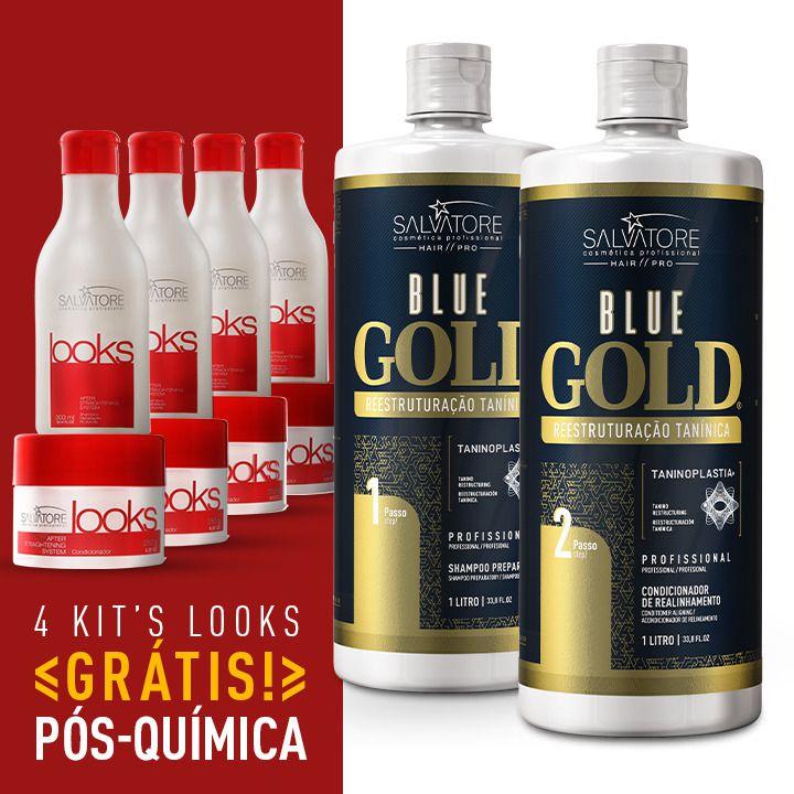 Kit Blue Gold Realinhamento Capilar (Passo 1 + Passo 2) 1L + 4 Kit Look Cliente