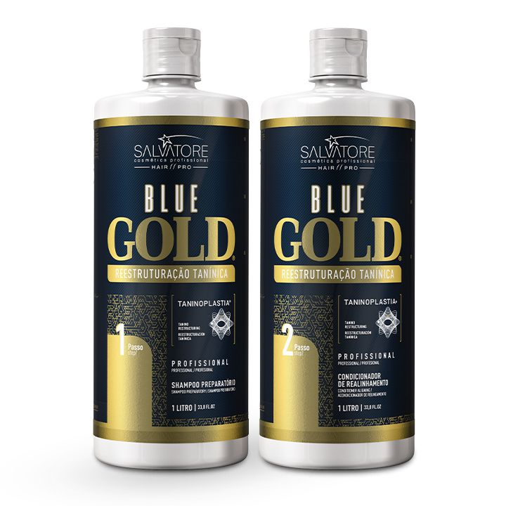 Kit Blue Gold Realinhamento Capilar (Passo 1 + Passo 2) 1L + 4 Kit Look Cliente  Pós Química ( Sh 300ml + Másc. Condicionante 250ml)