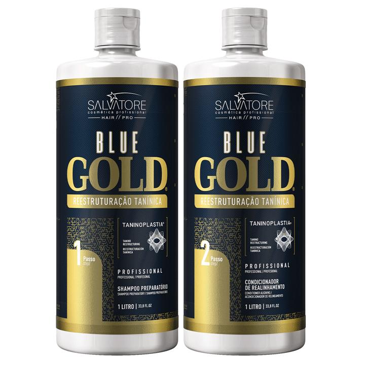 Kit Blue Gold 1l Passo 1 e 2 + Másc. Ojon 500ml