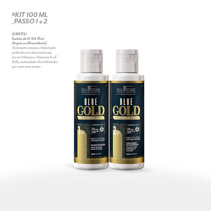 2ebcc66344f2d Kit Blue Gold (Passo 1 + Passo 2) 100ml - Realinhamento Capilar