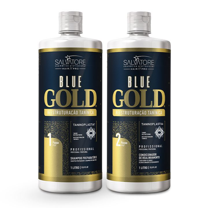 Kit Blue Gold (Passo 1 + Passo 2) 1L + Kit Blue Gold 500ml - Realinhamento Capilar