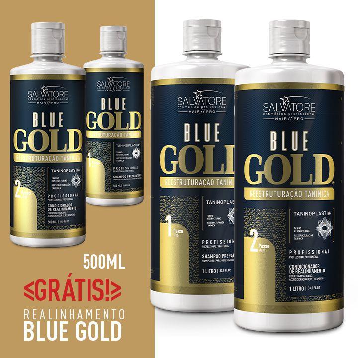 84d135ae76576 Kit Blue Gold (Passo 1 + Passo 2) 1L + Kit Blue Gold 500ml - Realinhamento  Capilar