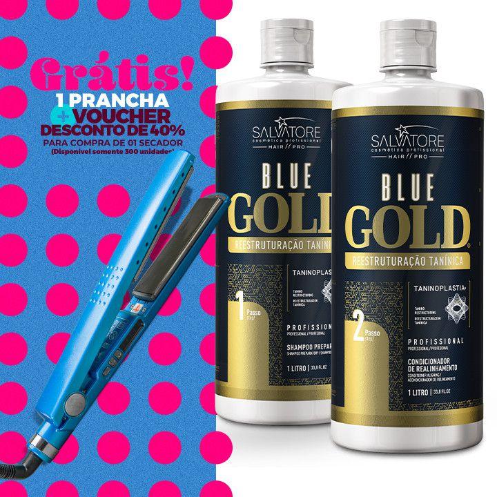 Kit Blue Gold  (Passo 1 + Passo 2)  1L + Prancha Titanium