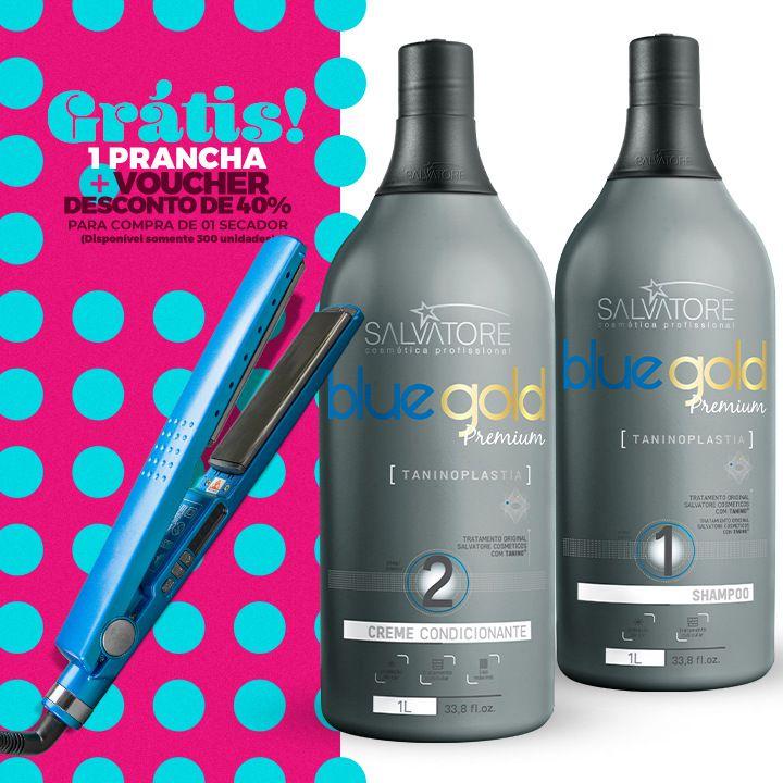 Kit Blue Gold Premium 1L + Prancha Titanium