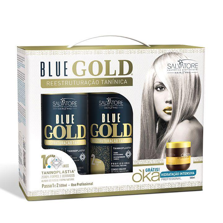 Kit Blue Gold Realinhamento Capilar 500ml passo 1 e 2 + Cond. oka 500ml