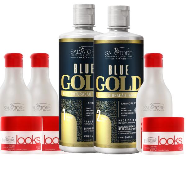 Kit Blue Gold Realinhamento Capilar 500ml (Shampoo + Condicionador ) + 3 Kit Looks Cliente (Sh 300ml + Másc. Condicionante 250ml)  Pós Química Kit Looks Cliente (Sh 300ml + Másc. Condicionante 250ml)