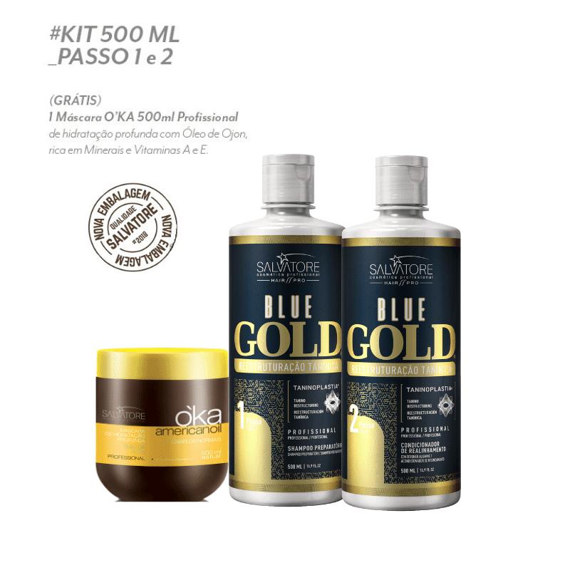 KIT BLUE GOLD REALINHAMENTO CAPILAR 500ML (SHAMPOO + CONDICIONADOR ) + MÁSC. OKA PROFISSIONAL (500ML)