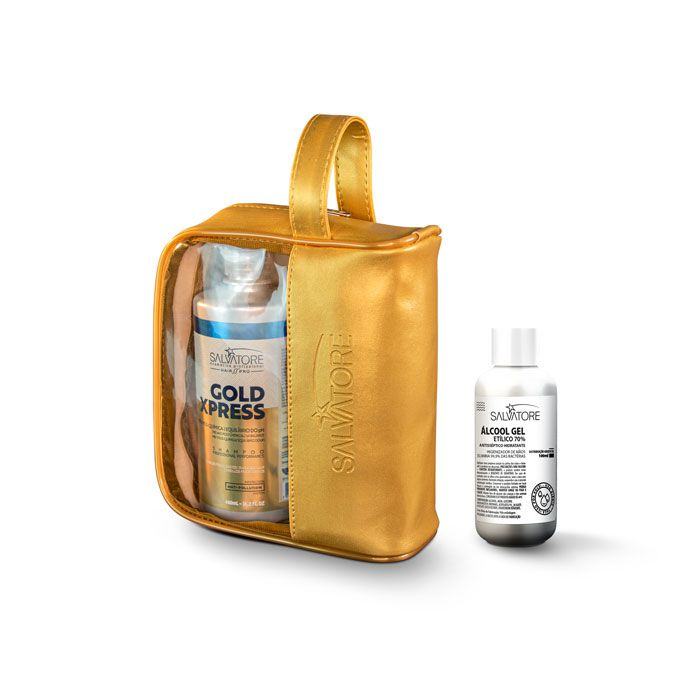 Kit Gold Xpress Cliente Shp 480ml +Cond 250ml + Necessaire + Álcool em gel 70% 100ml