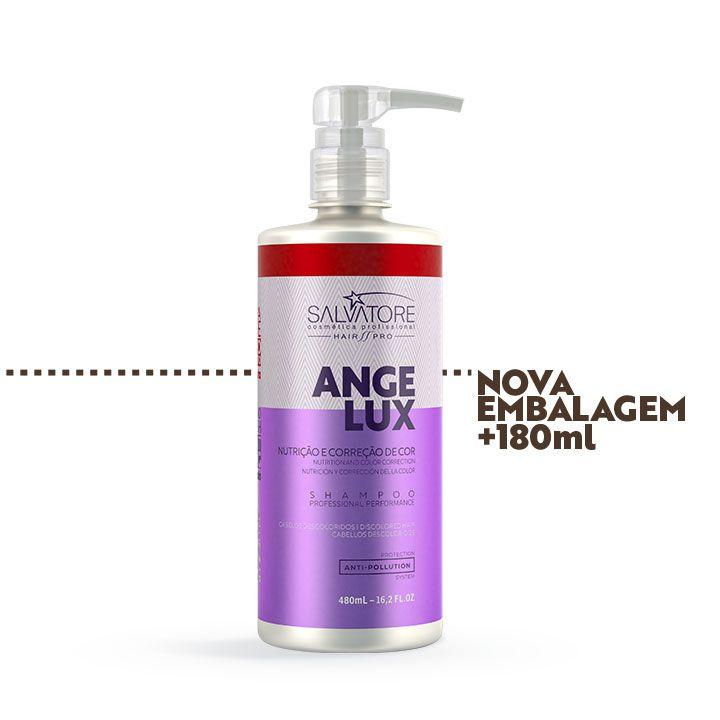 Shampoo Angelux Cliente 480ml - Reestruturação e Matização dos Cabelos Loiros e Descoloridos