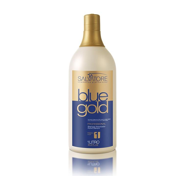 Shampoo Anti Resíduos Blue Gold 1 Litro - Realinhamento Capilar - Taninoplastia