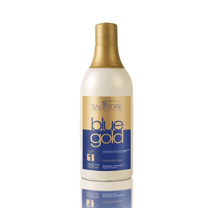 Shampoo Anti Resíduos Blue Gold 500 Ml - Realinhamento Capilar - Taninoplastia