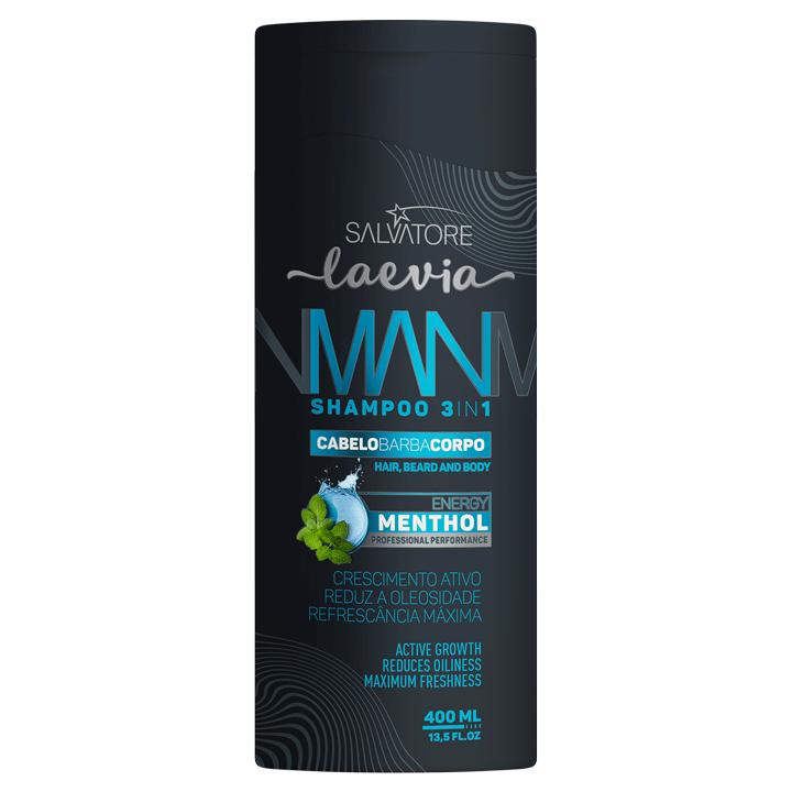 Shampoo Man 3 em 1 Menthol Laevia 400ml