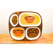 Bandeja/prato infantil com divisórias - Macaquinho