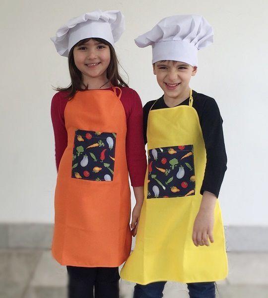Avental infantil colorido + chapéu mestre-cuca