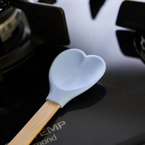 Colher de madeira e silicone - Coração