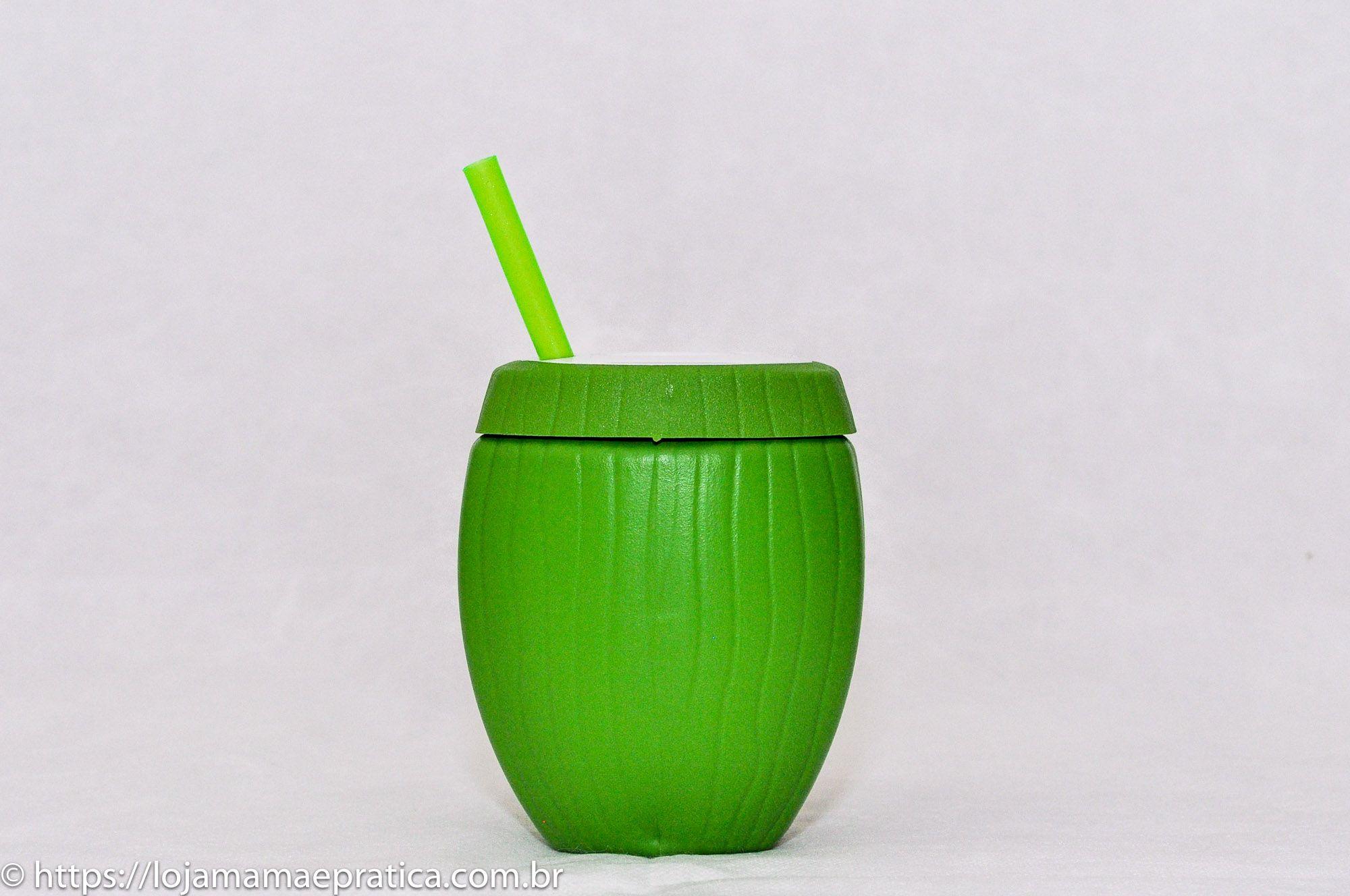 Copo coco verde - com canudo