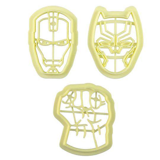 Cortadores super-heróis Marvel (3 peças)