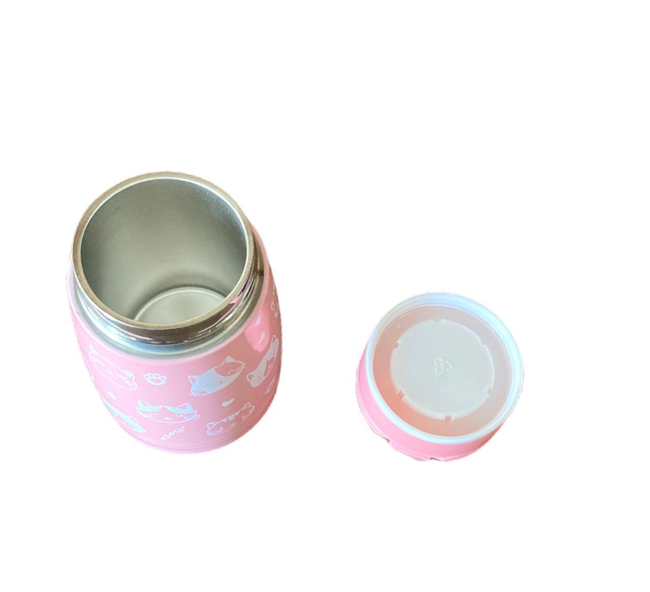 Garrafa Inox Rosa c/ Tampa - 180 ml