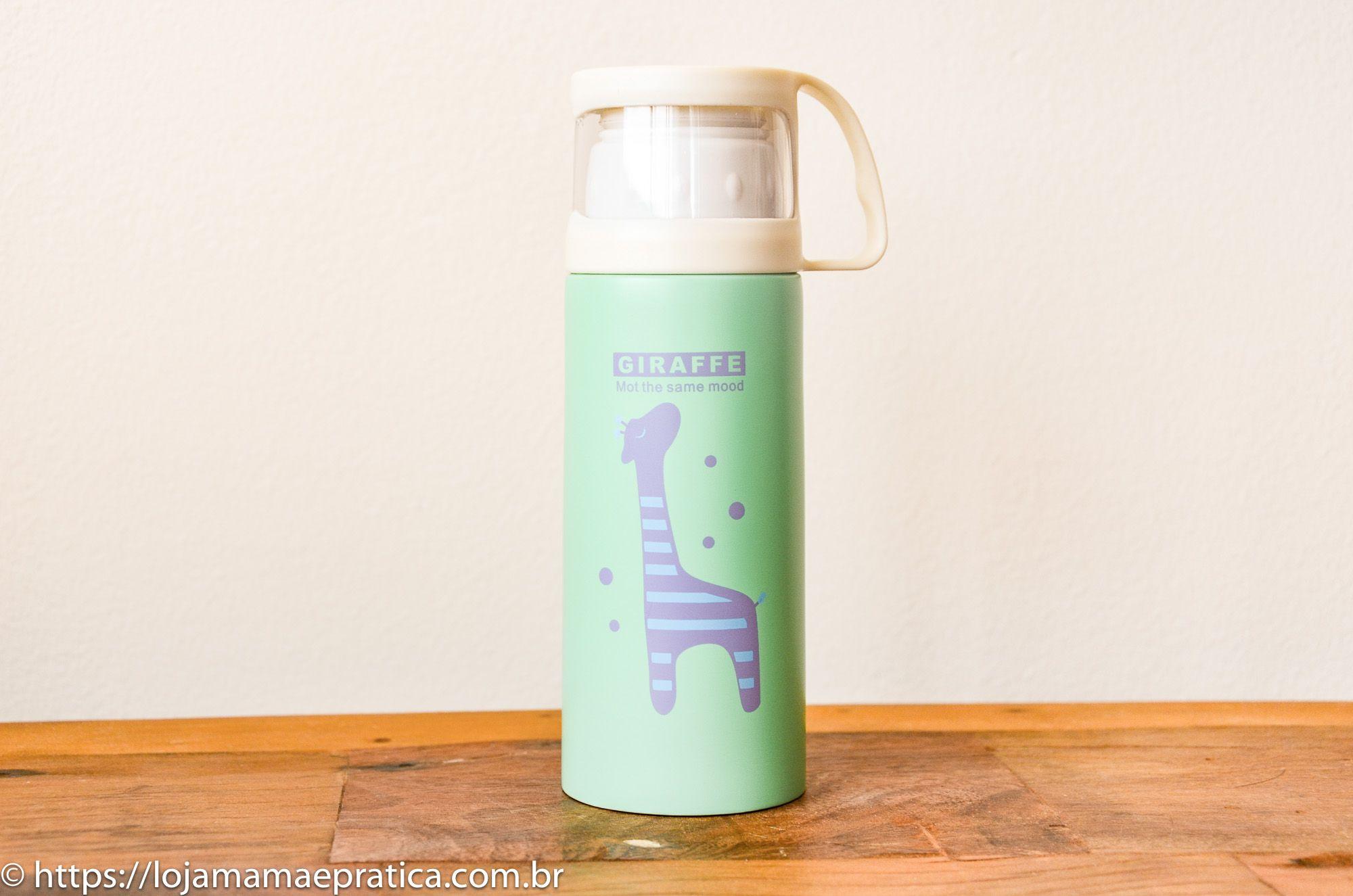 Garrafa térmica de inox Girafinha - 350 ml c/ caneca