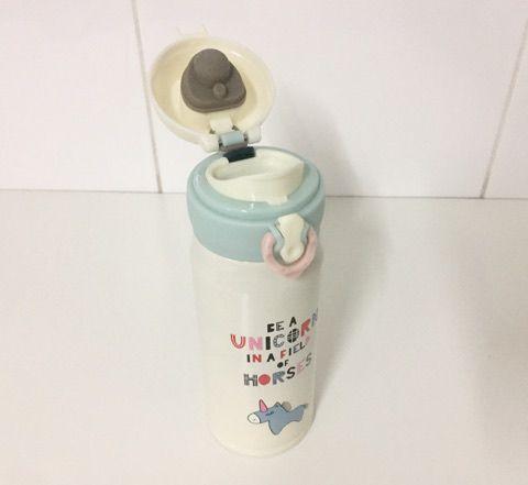 Garrafa térmica de inox Unicórnio - 350 ml