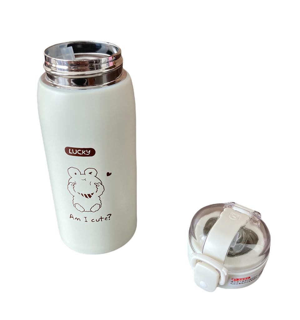 Garrafa Térmica Lucky Creme c/ canudo - 350 ml