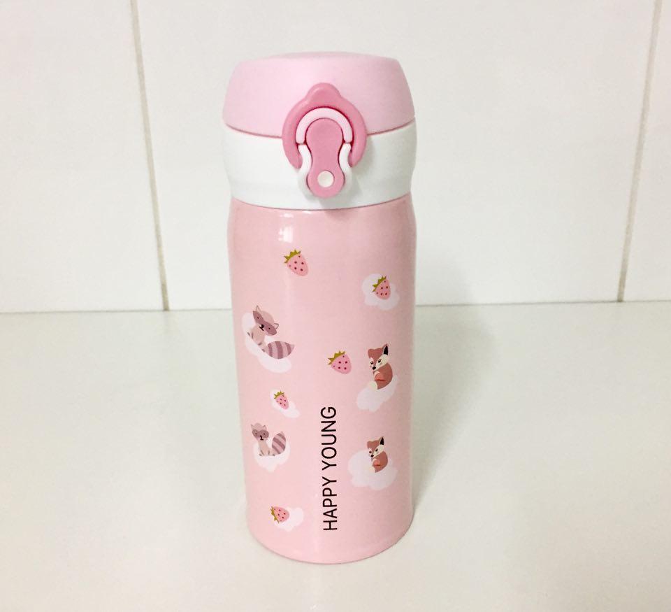 Garrafa Térmica Rosa Guaxinim - 300 ml