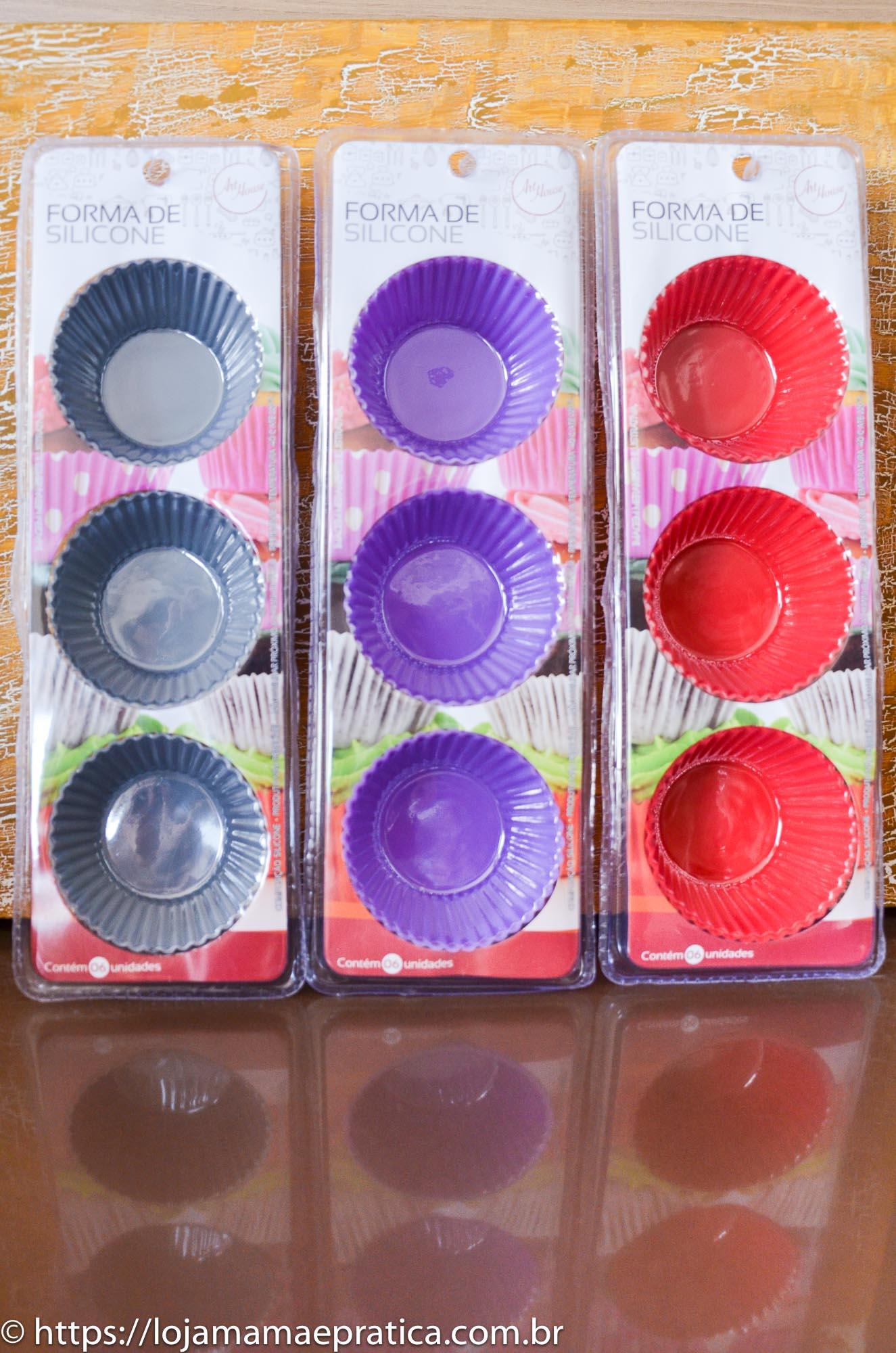 Jogo de 06 forminhas de silicone para cupcake