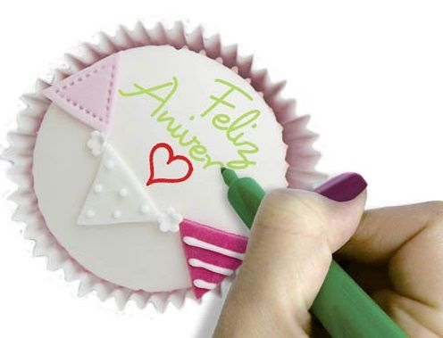 Jogo de canetas com tinta alimentícia - 5 unidades