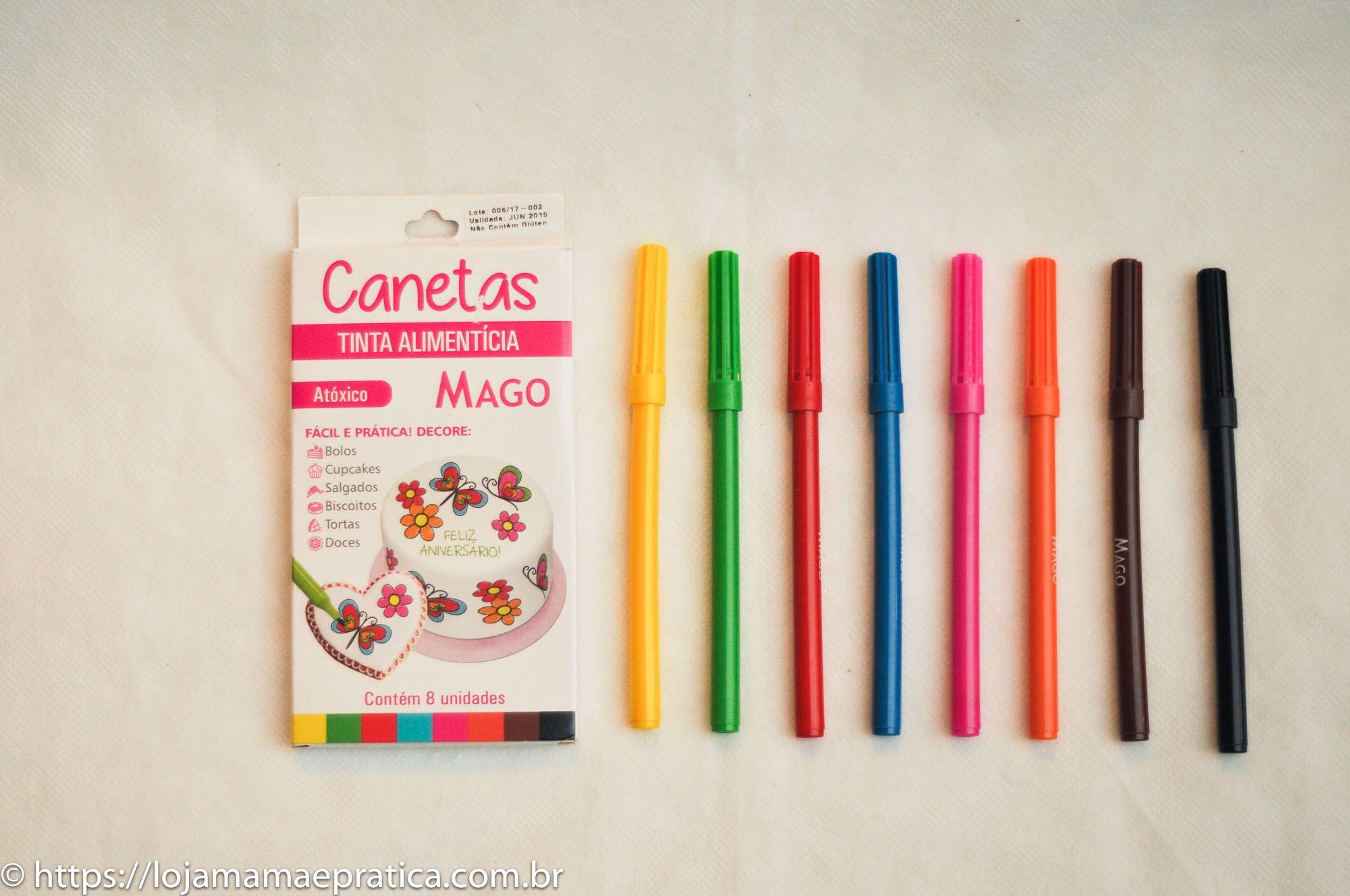 Jogo de canetas com tinta alimentícia - 8 unidades
