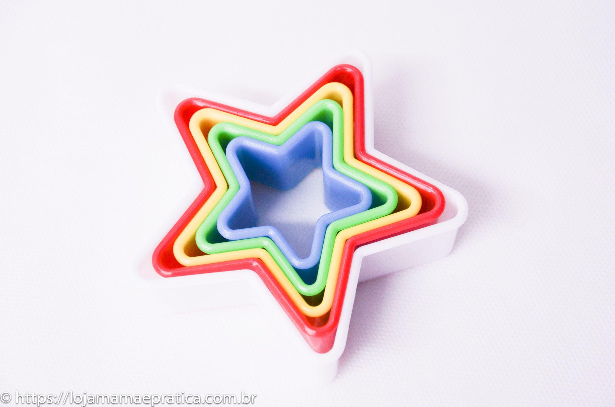 Jogo de cortadores em formato de estrela - 5 peças