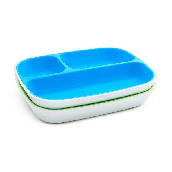Kit 2 Pratos c/ divisórias - Azul e Verde