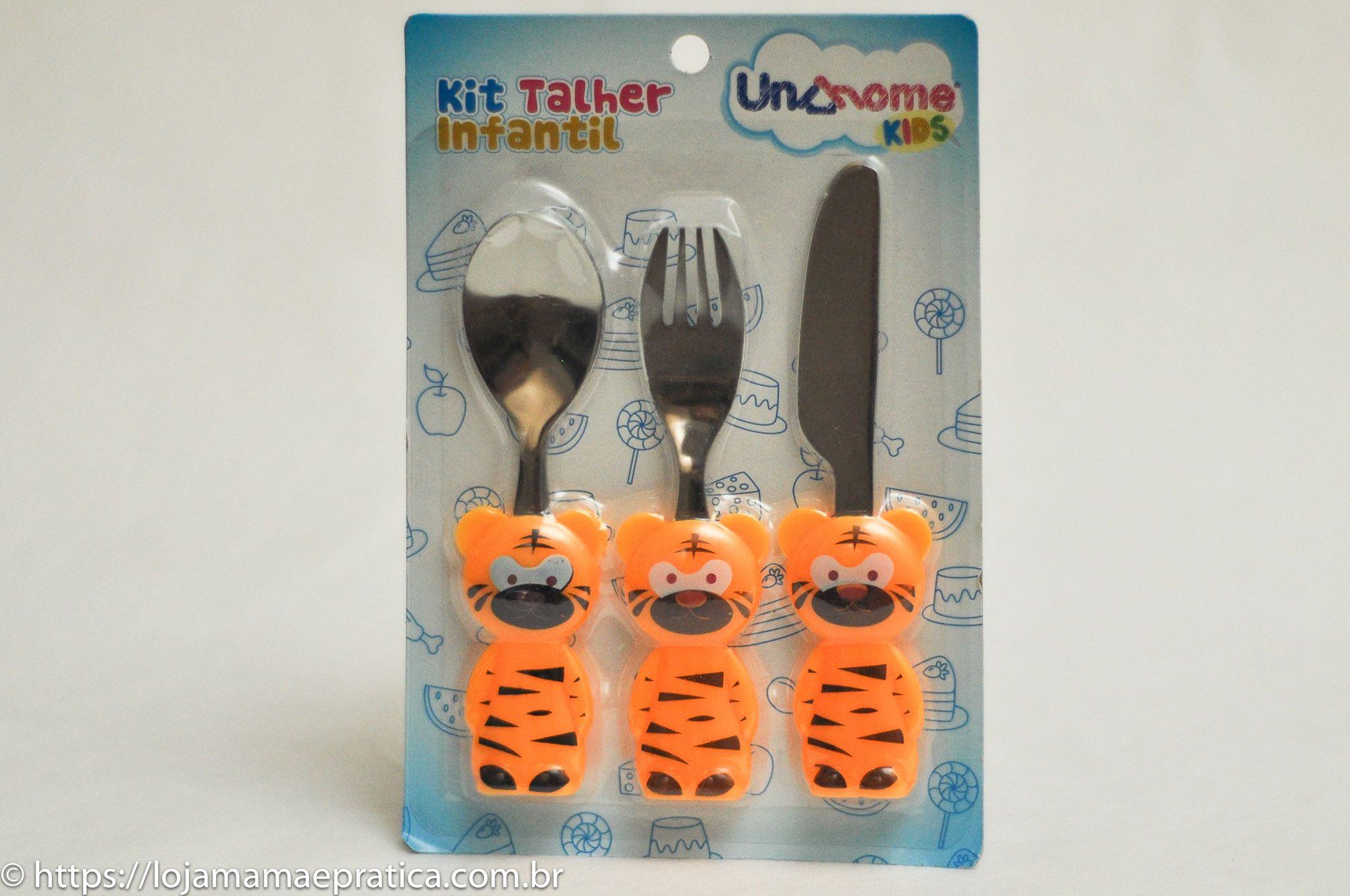 Kit talher infantil - tigre laranja