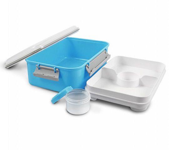 Pote Marmita c/ 3 compartimentos + pote molho  (1400 ml)