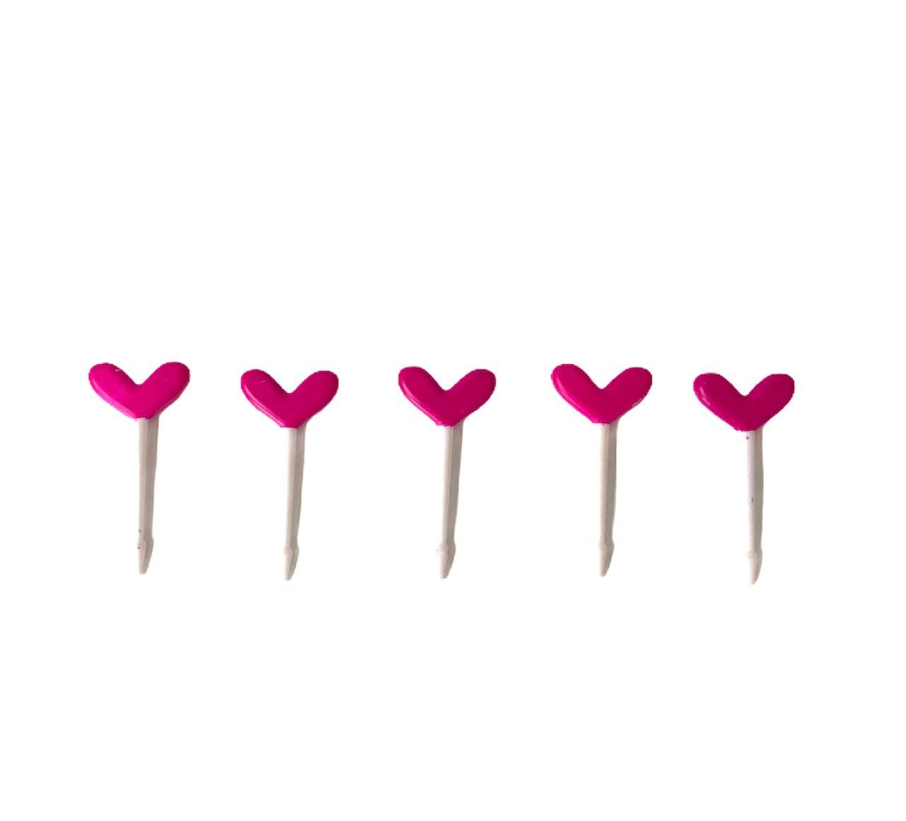 Palitinhos Coração Pink - 5  peças