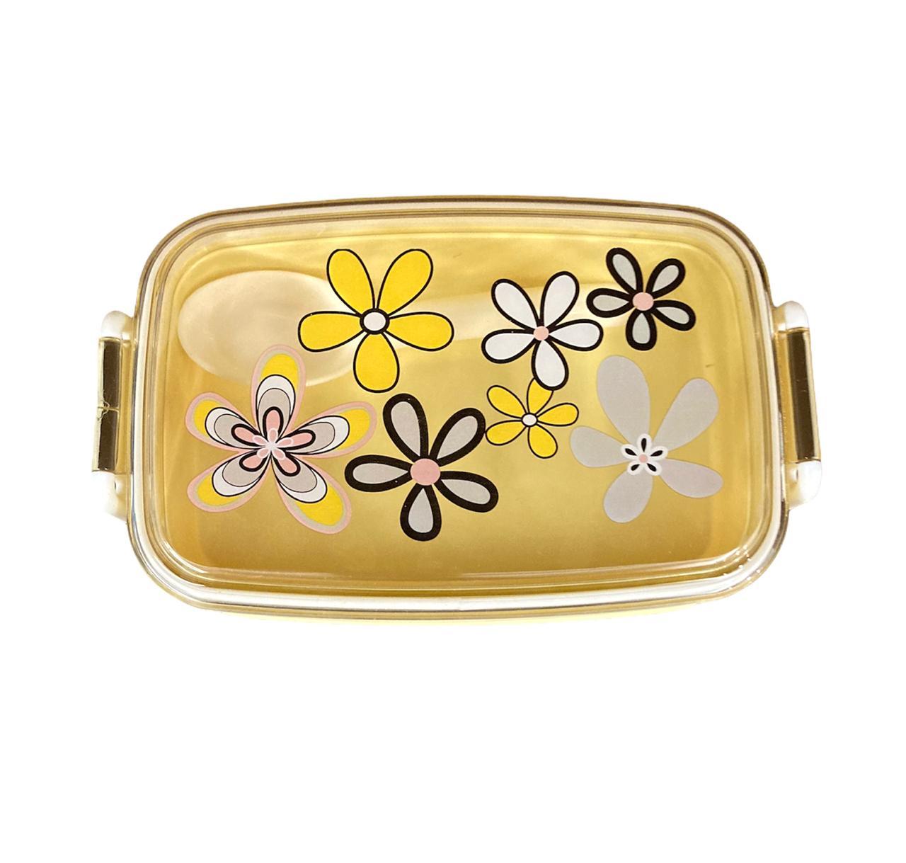 Pote Lancheira Flores Amarelo - 2 andares