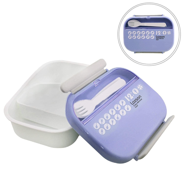 Pote/Marmita com divisória móvel e talher - Azul