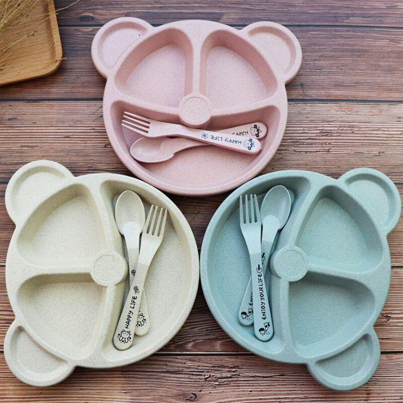Prato de plástico biodegradável c/ divisórias - creme