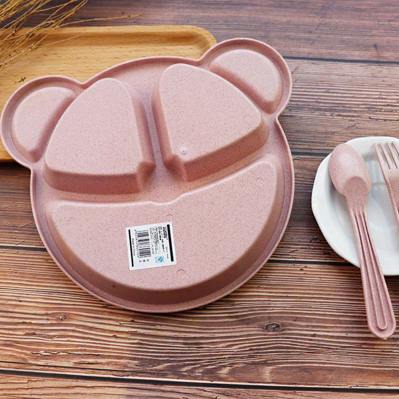 Prato de plástico biodegradável c/ divisórias - rosa